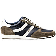 Buy BOSS Orange Orland Fabric Blend Trainers, Khaki Online at johnlewis.com