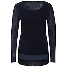 Buy Oui Lace Insert Linen Jumper, Dark Blue Online at johnlewis.com