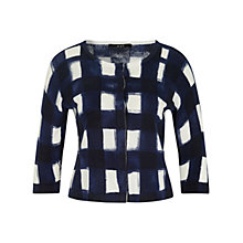 Buy Oui Button Down Check Cardigan, Dark Blue/White Online at johnlewis.com