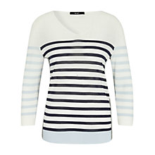 Buy Oui V-Neck Stripe Linen Jumper, White/Blue Online at johnlewis.com