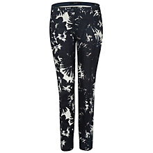 Buy Oui Floral Print Linen Trousers, Dark Blue/White Online at johnlewis.com