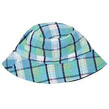 Buy John Lewis Baby Check Print Sun Hat, Blue/Multi Online at johnlewis.com