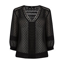 Buy Oasis Dobby Lace Trim V-Neck Blouse Online at johnlewis.com