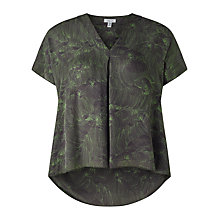 Buy Jigsaw Pleated Petal Silk Top, Moss Online at johnlewis.com