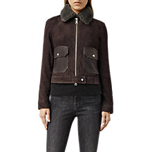 Buy AllSaints Orton Sheepskin Jacket, Dark Brown Online at johnlewis.com