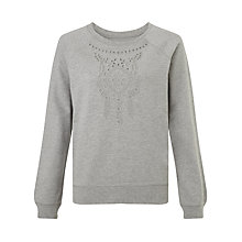 Buy Collection WEEKEND by John Lewis Embroidered Sweatshirt, Light Grey Marl Online at johnlewis.com