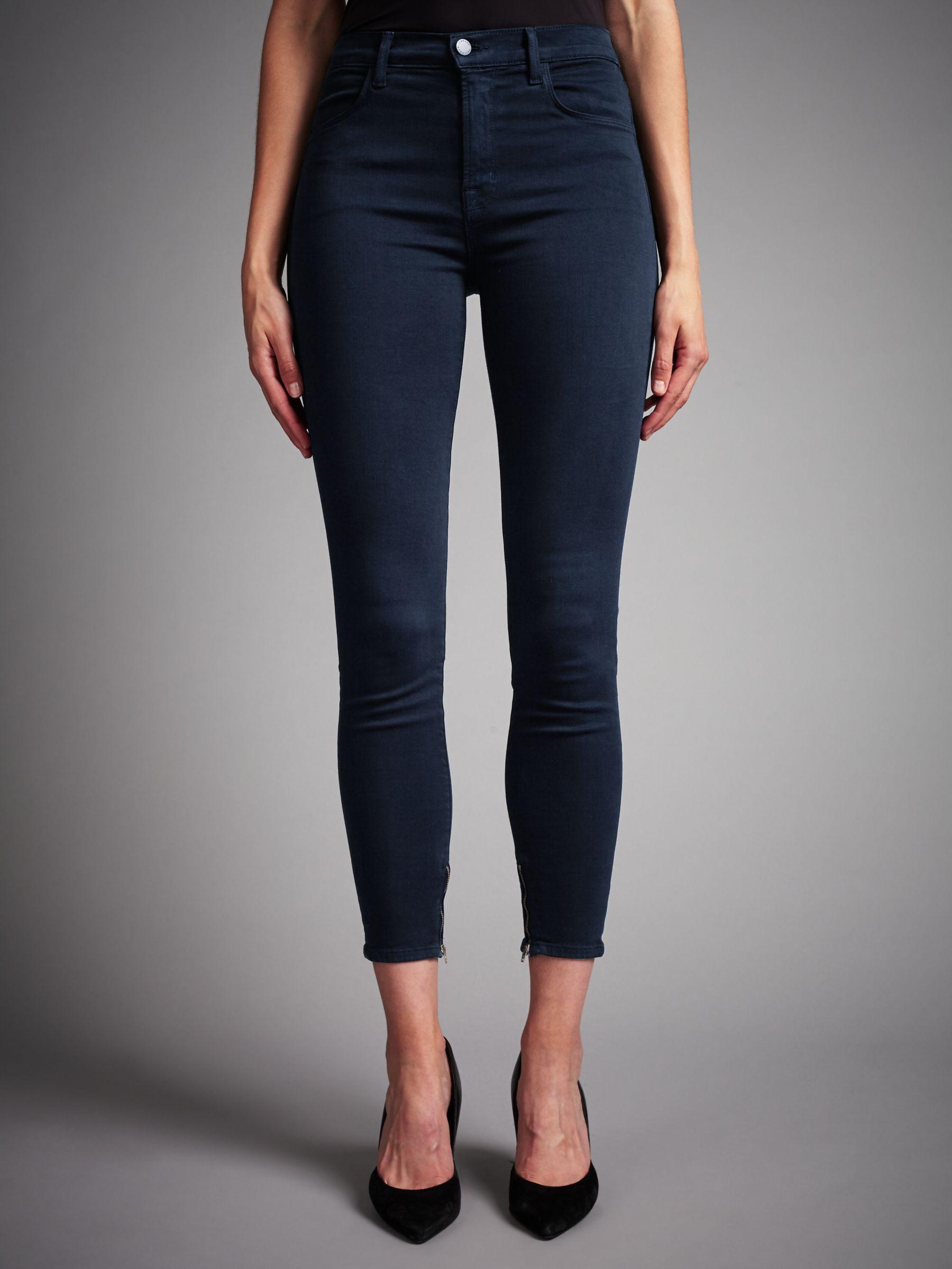 J Brand J Brand Maria High Rise Ankle Crop Skinny Jeans, Direct Blue Black