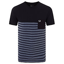 Buy Fred Perry Pique Stripe T-Shirt, Cobalt Online at johnlewis.com