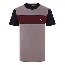 Buy Fred Perry Twill Jersey Panel T-Shirt, Mahogany Marl Online at johnlewis.com