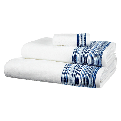 John Lewis Wave Border Towels, White / Blue