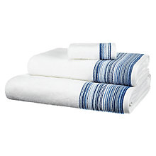 Buy John Lewis Wave Border Towels, White / Blue Online at johnlewis.com