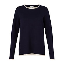 Buy Jigsaw Double Face Crew Neck Jumper, Navy Online at johnlewis.com