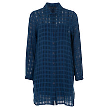 Buy French Connection Long Dobby Check Shirt, Indigo Online at johnlewis.com