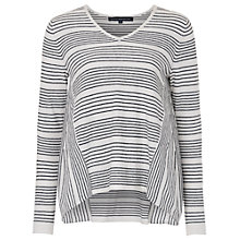 Buy French Connection Pinstripe Crochet Trim Detail Jumper, Summer White/Black Online at johnlewis.com