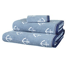 Buy John Lewis Anchor Towels, Blue Online at johnlewis.com