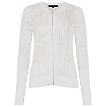 Buy French Connection Pointelle Zip Through Cardigan, Summer White Online at johnlewis.com