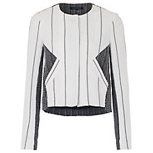 Buy French Connection Riviera Tweed Collarless Jacket, Black/White Online at johnlewis.com