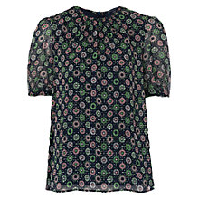 Buy French Connection Medina Tile Printed Blouse, Mineral Green Multi Online at johnlewis.com
