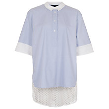 Buy French Connection Kyra Cotton Oversized Shirt, Blue/Summer White Online at johnlewis.com