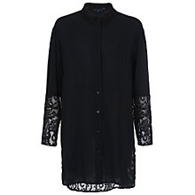 Buy French Connection Taza Lace Oversized Shirt, Black Online at johnlewis.com