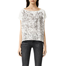 Buy AllSaints Fern Pina T-Shirt, Chalk White Online at johnlewis.com