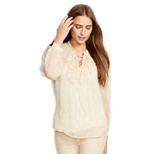 Buy Lauren Ralph Lauren Angelika Silk Top, Tan Multi Online at johnlewis.com