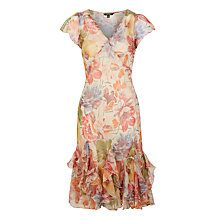 Buy Lauren Ralph Lauren Anessa Ruffled Georgette Dress, Tan Multi Online at johnlewis.com