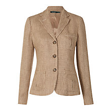Buy Lauren Ralph Lauren Syreeta Textured Silk Jacket, Tan/Brown Online at johnlewis.com