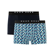 Buy BOSS Plain and Square Print Trunks, Pack of 2, Blue Online at johnlewis.com
