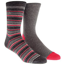 Buy Calvin Klein Stripe and Solid Socks, Pack of 2, Grey Online at johnlewis.com