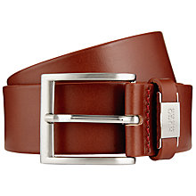Buy HUGO by Hugo Boss C-Connio Leather Belt, Light Brown Online at johnlewis.com