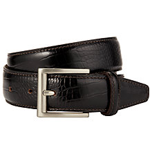 Buy John Lewis Made in Italy Mock Crocodile Leather Belt, Dark Brown Online at johnlewis.com