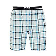 Buy BOSS Jersey Cotton Check Lounge Shorts, Blue Online at johnlewis.com