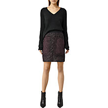 Buy AllSaints Ifaneva Embroidered Skirt, Oxblood Red/Aubergine Purple Online at johnlewis.com