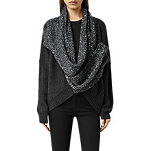 Buy AllSaints Helm Wrap Cardigan, Cinder Black Marl Online at johnlewis.com