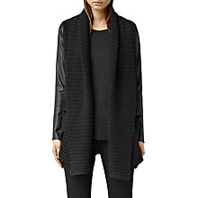 Buy AllSaints Sefir Leather Cardigan, Cinder Black Marl Online at johnlewis.com