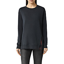 Buy AllSaints Solo Check Sweatshirt, Washed Black Online at johnlewis.com