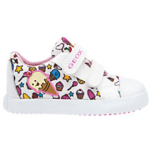 Buy Geox Children's Kiwi Rip-Tape Canvas Shoes, White/Multi Online at johnlewis.com