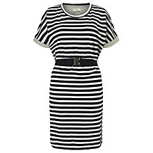 Buy Numph Garland Stripe Belted Dress, Caviar Online at johnlewis.com