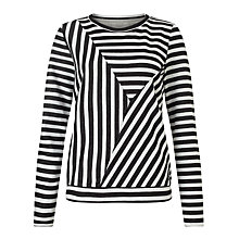 Buy Numph Andrea Cut Stripe Sweatshirt, Caviar Online at johnlewis.com