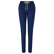 Buy Numph Lena Slim Fit Drawstring Trousers, Blue Denim Online at johnlewis.com
