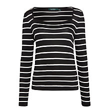 Buy Lauren Ralph Lauren Fevin Stripe Jersey Top, Black/Pearl Online at johnlewis.com