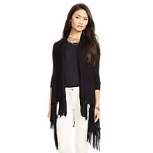 Buy Lauren Ralph Lauren Jadrej Draped Merino Wool Cardigan, Black Online at johnlewis.com