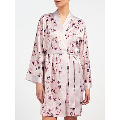 John Lewis Satin Winter Pansy Robe, Ivory/Pink