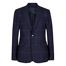 Buy Duchamp Windowpane Check Tailored Wool Blazer, Navy/Green Online at johnlewis.com