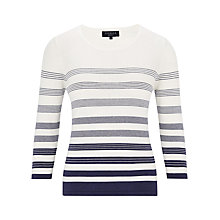 Buy Viyella Stripe Cotton Jumper, White/Indigo Online at johnlewis.com