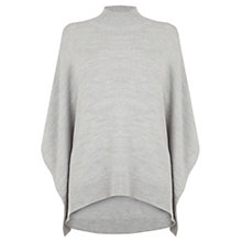 Buy Oasis High Neck Poncho, Mid Grey Online at johnlewis.com