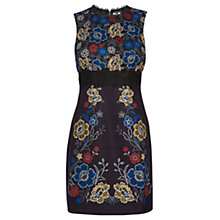 Buy Warehouse Floral Print And Lace Dress, Black Online at johnlewis.com