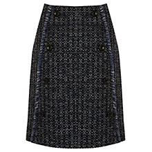 Buy Warehouse Button Front Tweed Skirt, Blue Online at johnlewis.com