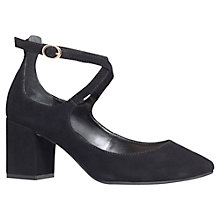 Buy Carvela Attract Block Heeled Court Shoes, Black Suede Online at johnlewis.com